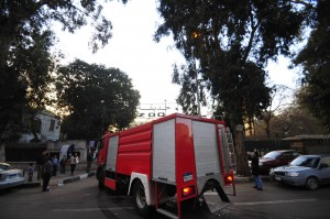 Fire trucks arrive to tackle a blaze at Giza Zoo Hassan Ibrahim