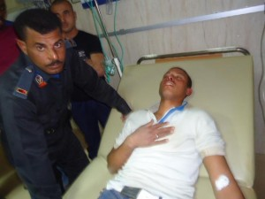 Central Security Force recruit lies in hospital after clashes at the Gabil military base Al-Tur in southern Sinai (Nasr Al-Azizi)