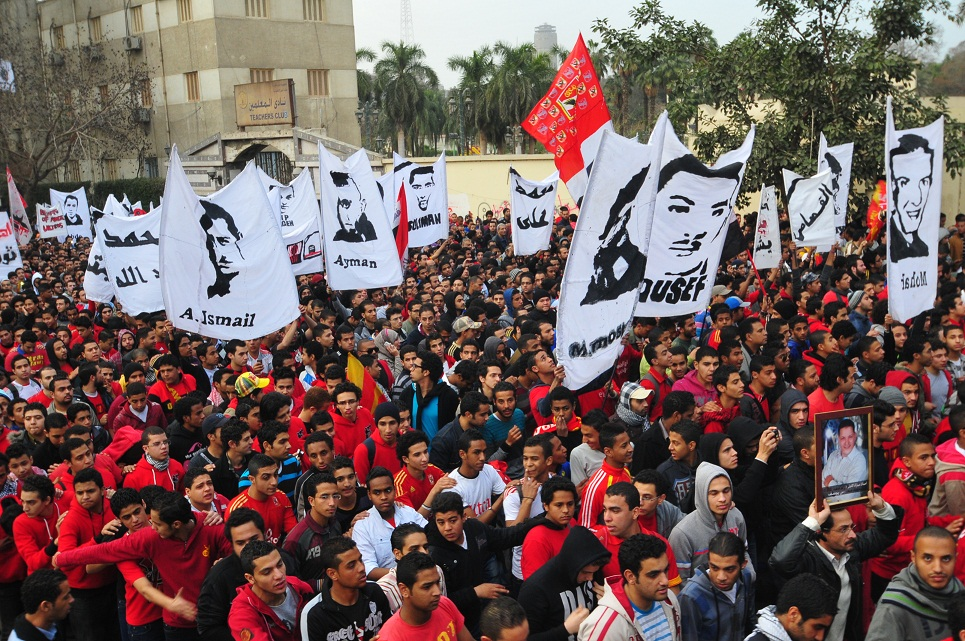 Ultras Ahlawy march from Al Ahy club in Gezeira to Tahrir Square demanding justice for those who died at the Port Said stadium disaster Hassan Ibrahim