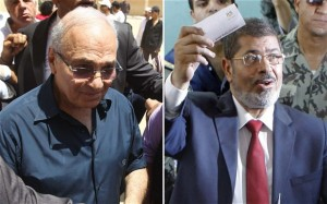The results showed that Mohamed Morsi and Ahmed Shafiq received more media attention than other candidates in the first round of elections. Photo: Mohamed Morsi and Ahmed Shafiq during the last presidential elections (AFP Photo)
