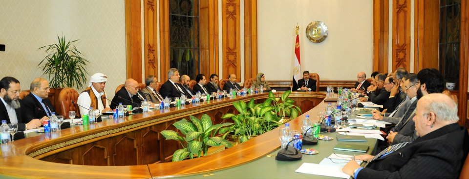 President Mohamed Morsi met with 13 political parties and a number of public figures on Tuesday evening to hear their suggestions on how to assure a transparent electoral process. (Photo Presidency hand out)