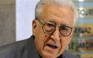 "Lakhdar Brahimi said Al-Khatib has ""opened the door, and the Syrian government has said in truth that it confirms what it has been continuously saying, that it is ready for dialogue and for a peaceful solution"". (Photo - AFP)"