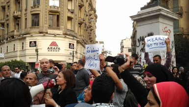 Hundreds protested in Tala'at Harb Square in Downtown Cairo on Saturday against President Morsi and the Muslim Brotherhood, in solidarity with the citizen killed by Central Security Forces (CSF) in Mansoura on Friday (Photo by Fady Salah)