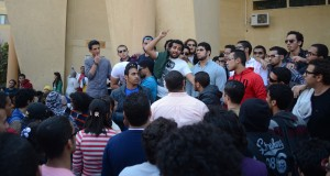 Protesting students gathered on Monday to condemn the referral of 12 students to investigation Photo By: Haleem Elshaarani