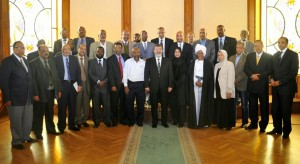Morsi met on Monday with a delegation of Nubians, who expressed their disappointment in the lack of change seen since the fall of President Hosni Mubarak. (Photo Presidency hand out )