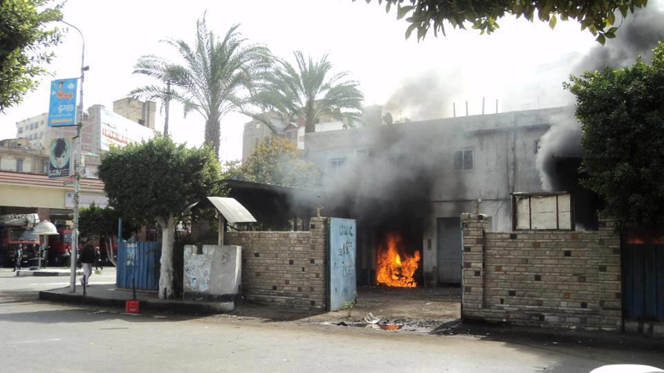 A police building in Salah Salem Street in Port Said was set on fire on Saturday morning (Photo Courtesy of 6 April youth movement in Portsaid Facebook Fan Page)