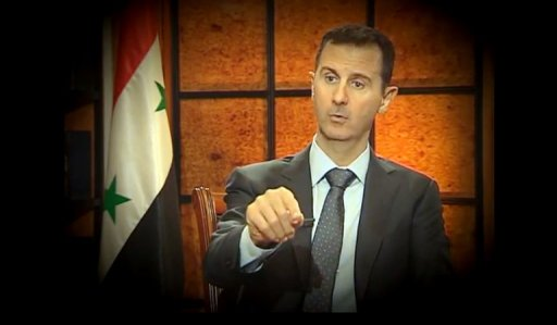 Syrian President Bashar al-Assad during an interview with Turkish journalists in Damascus on April 2, 2013,