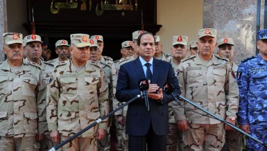 President Abdel Fattah Al-Sisi adresses the nation on 31 January 2015. (Photo by presidential office to DNE)