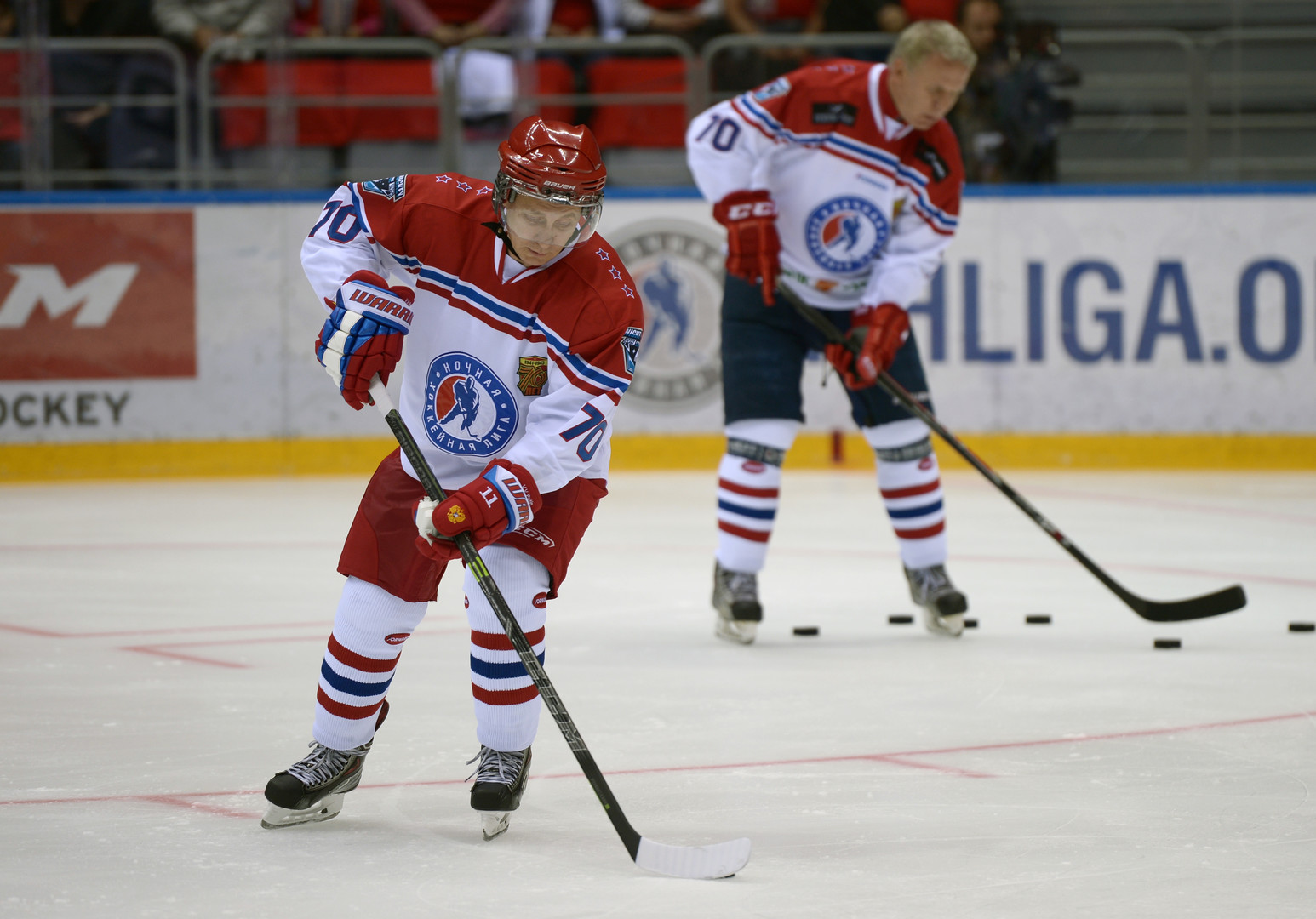 Putin wore the number 70 on the back of his shirt to participate in an all-star team that included a number of politicians and former star players of the game
