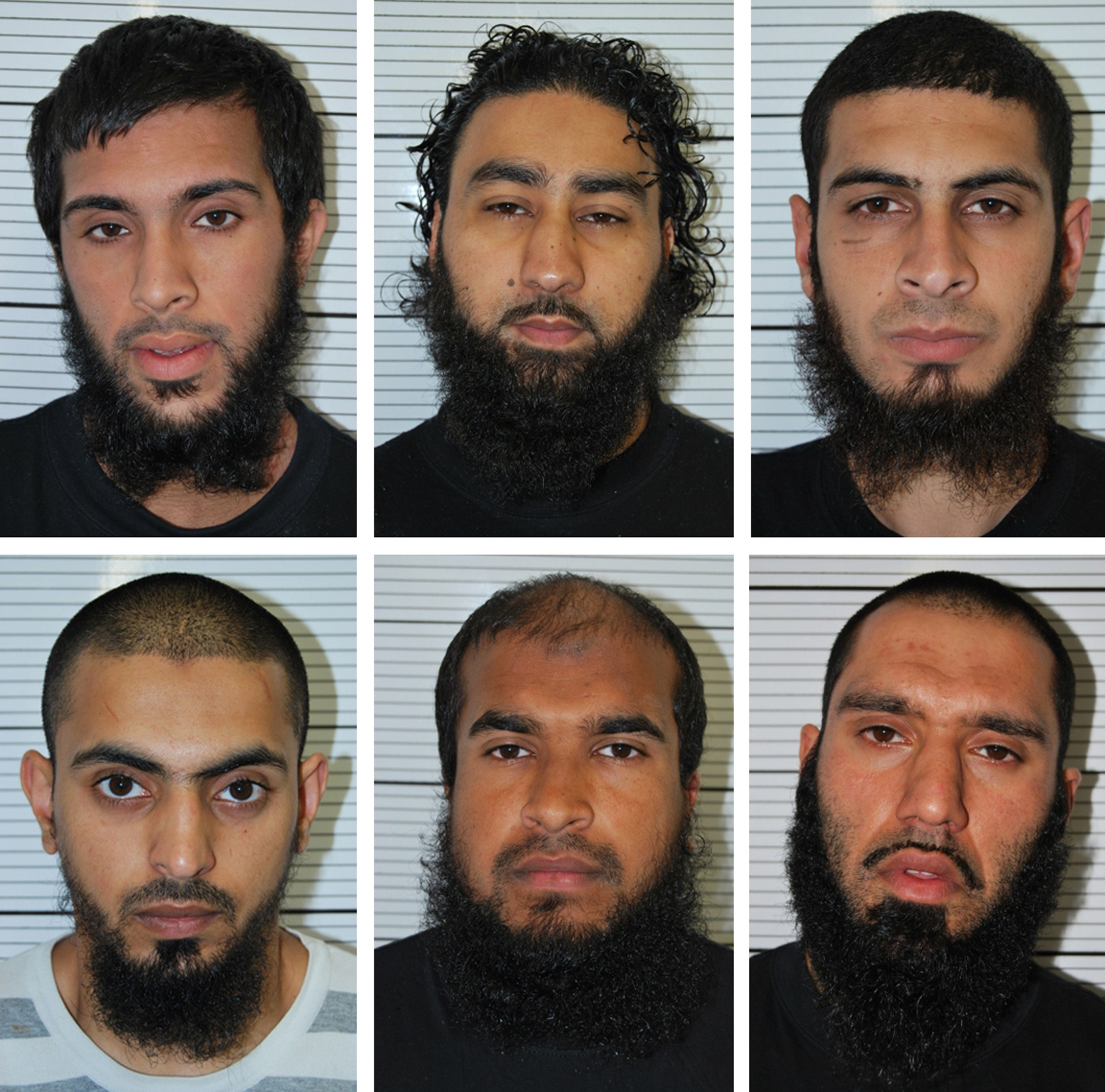 A combination of handouts released by West Midlands Police on April 30, 2013 shows the undated custody photographs of six men (top row L-R) Zohaib Ahmed, Omar Khan, Mohammed Saud (bottom row L-R) Mohammed Hasseen, Jewel Uddin and Anzal Hussain, who all admitted in court on April 30, 2013 to planning to attack a far-right rally in England with guns, swords and a nail bomb, in a plot that only failed because they turned up late. (AFP Photo)