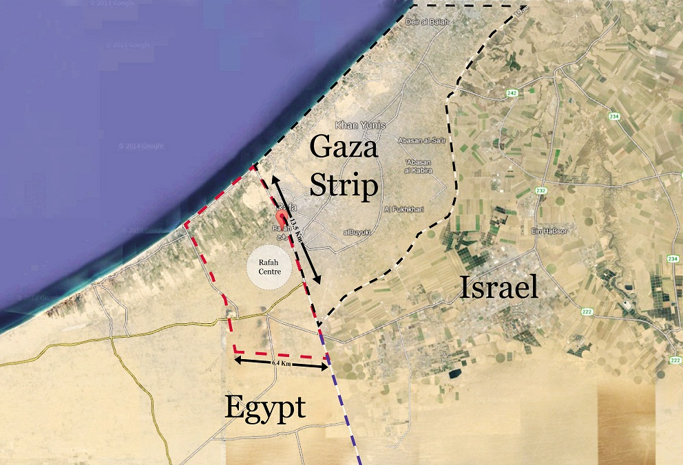 Daily News Egypt's map of the Rafah buffer zone, based on the official coordinates released by the Egyptian Cabinet. The most densely populated parts of the town of Rafah on the Egyptian side of the border are located fully within the area that is set to be evacuated (Photo from Google Maps / DNE)