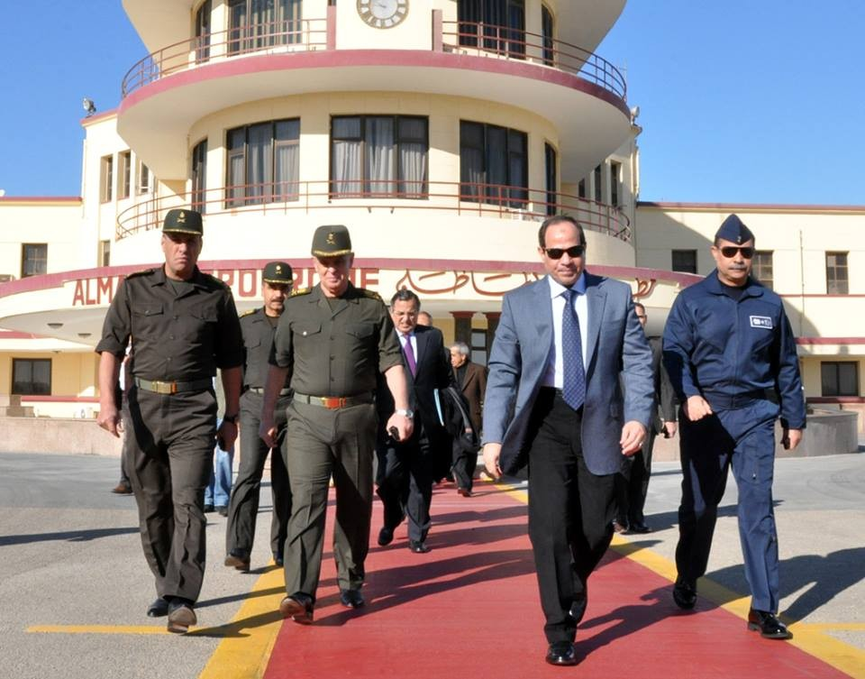 Minister of Defence Abdel Fattah Al-Sisi  (C) and Minister of Foreign Affairs Nabil Fahmy on their way to Moscow on Wednesday  for a meeting with their Russian counterparts (Photo Courtesy of the Armed Forces )