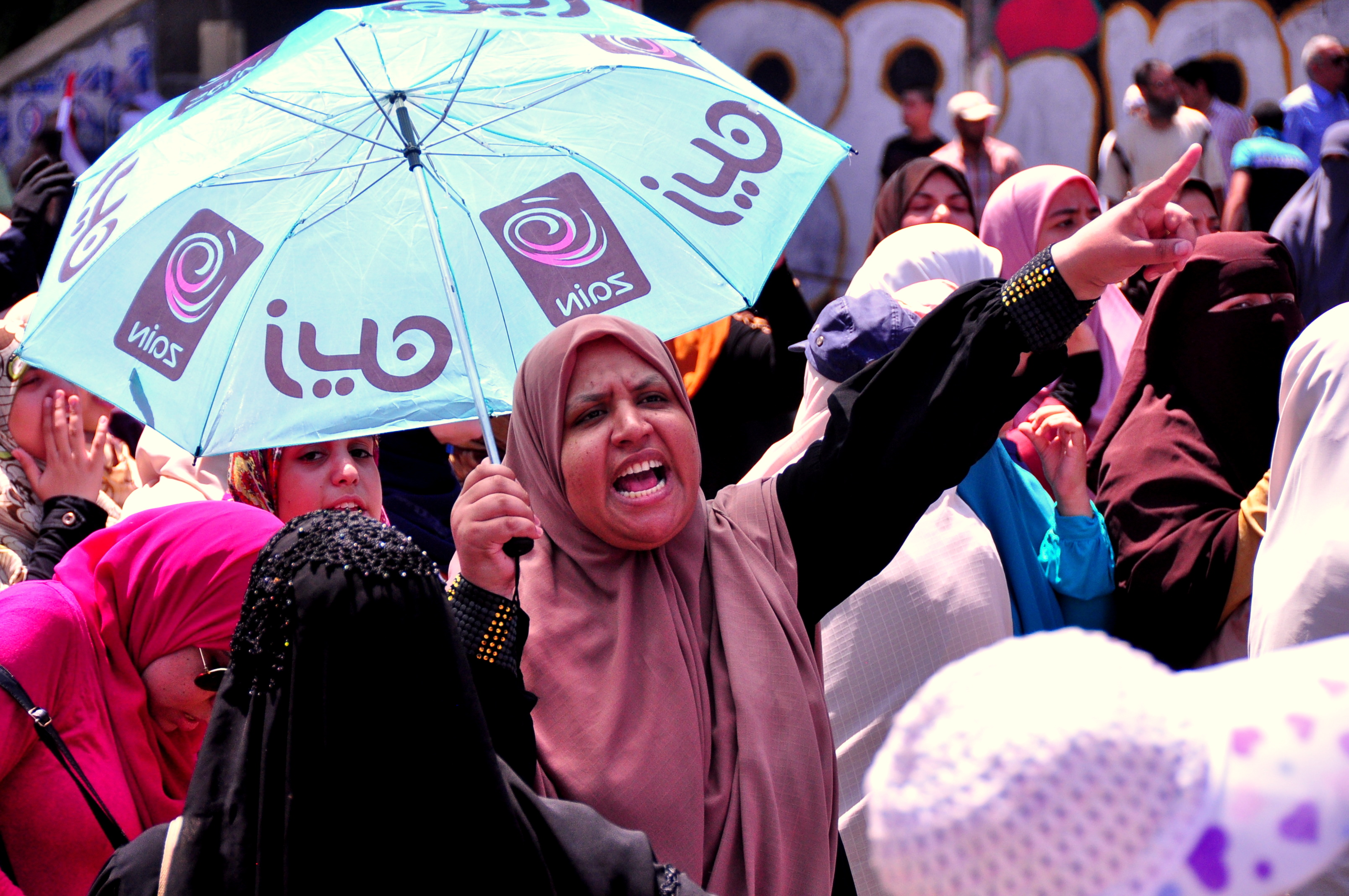 Female protesters in support of ousted president Mohamed Morsi marched to the Ministry of Defence on Sunday. (Photo by Aaron T Rose)