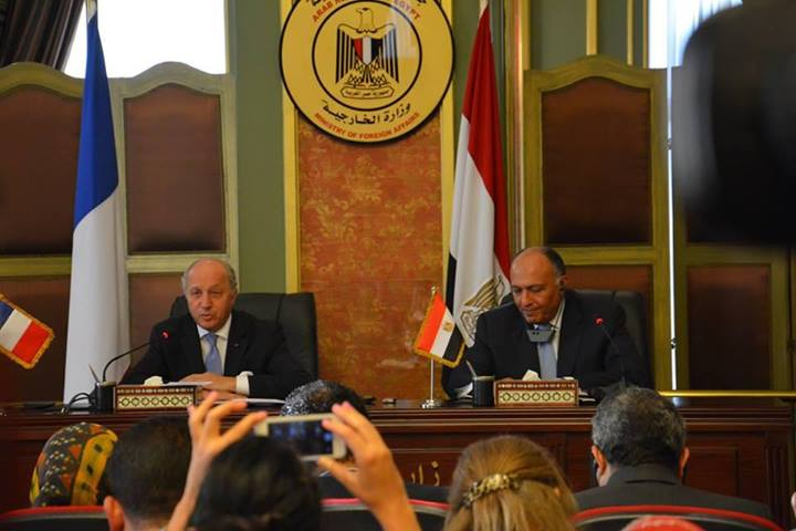 French Foreign Minister said his country backed and continues to back the Egyptian initiative for a ceasefire in the Gaza Strip during a joint press conference with his Egyptian counterpart on Friday  (Photo Handout from the Egyptian Ministry of Foreign Affairs)