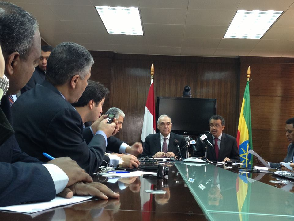 Egyptian Foreign Minister Mohamed Kamel Amr met with Ethiopian Foreign Minister Tedros Adhanom Ghebreyesus in Addis Ababa and discussed the Grand Ethiopian Renaissance Dam (Photo from Mohamed Kamel Amr's Facebook page )
