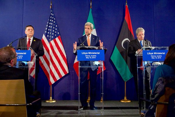 U.S secretary of state John Kerry addressing Libya in Vienna ministerial meeting. (Photo from Twitter)