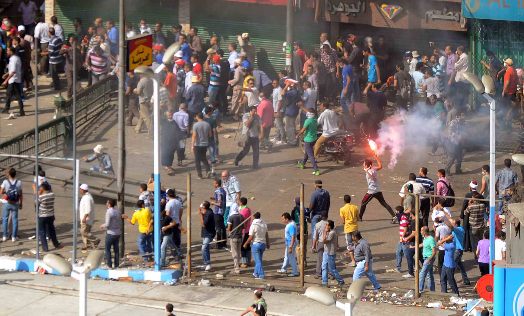 Clashes on Ramses Street on Friday. Ahmed Al-Malky