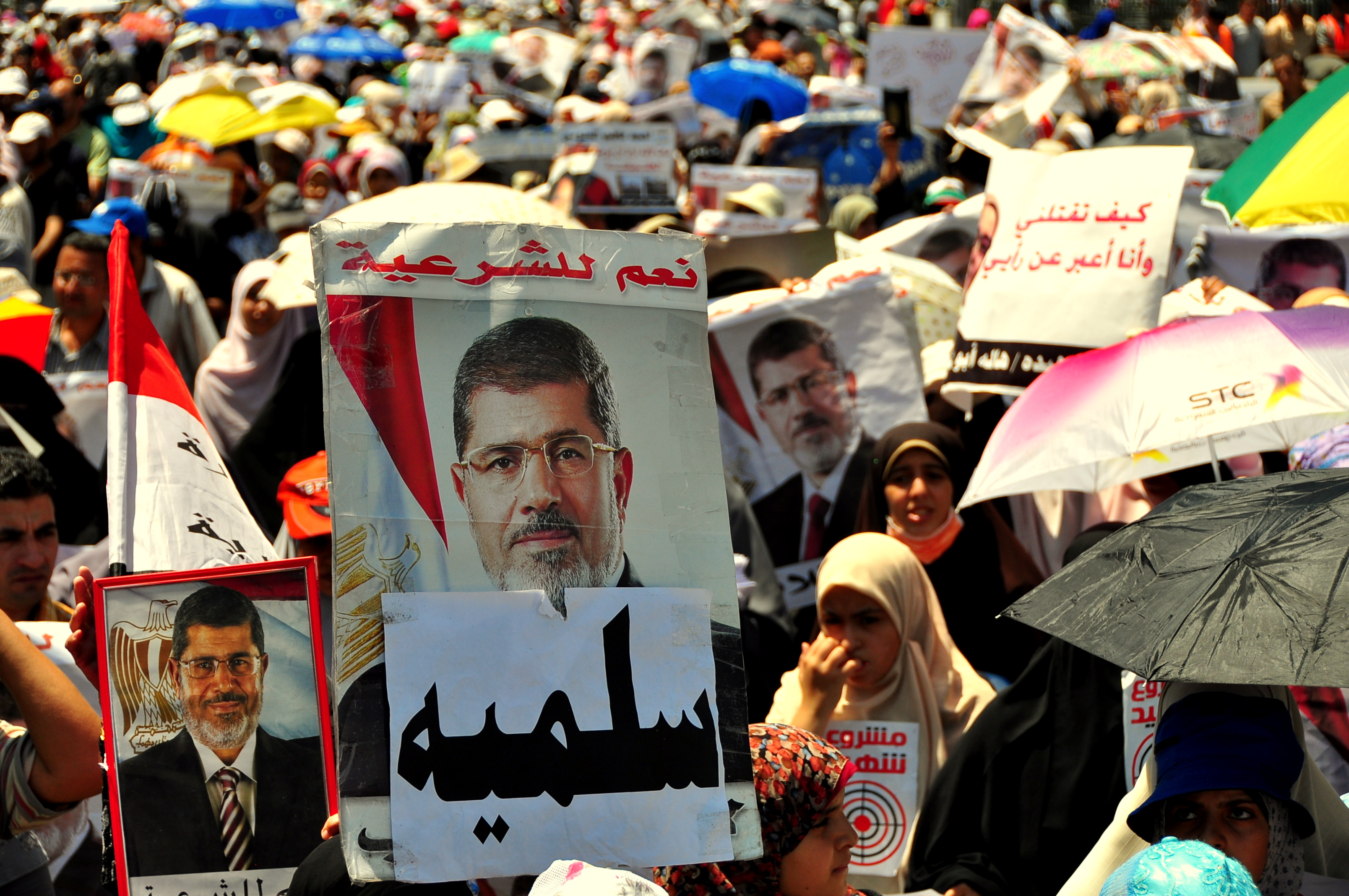 A large crowd of mostly female demonstrators gathered at Al Nour Mosque in Abissaya on Tuesday afternoon in a show of support for ousted president Mohamed Morsi, and to protest last Saturday's attacks on Nasr Road that left dozens of Morsi supporters dead. Aaron T Rose