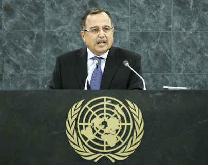 Foreign Minister Nabil Fahmy delivered Egypt's speech to the United Nations General Assembly on Saturday (Photo from United Nations/Sarah Fretwell)