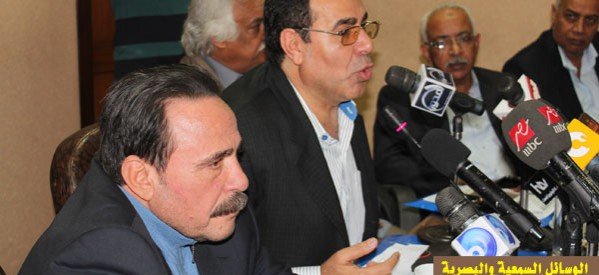 Abdel Fatah Ibrahim, chairman of the Egyptian Trade Union Federation, calls on labourers to vote 'yes' on the draft constitution  (Photo Courtesy of the Egyptian Trade Union Federation)