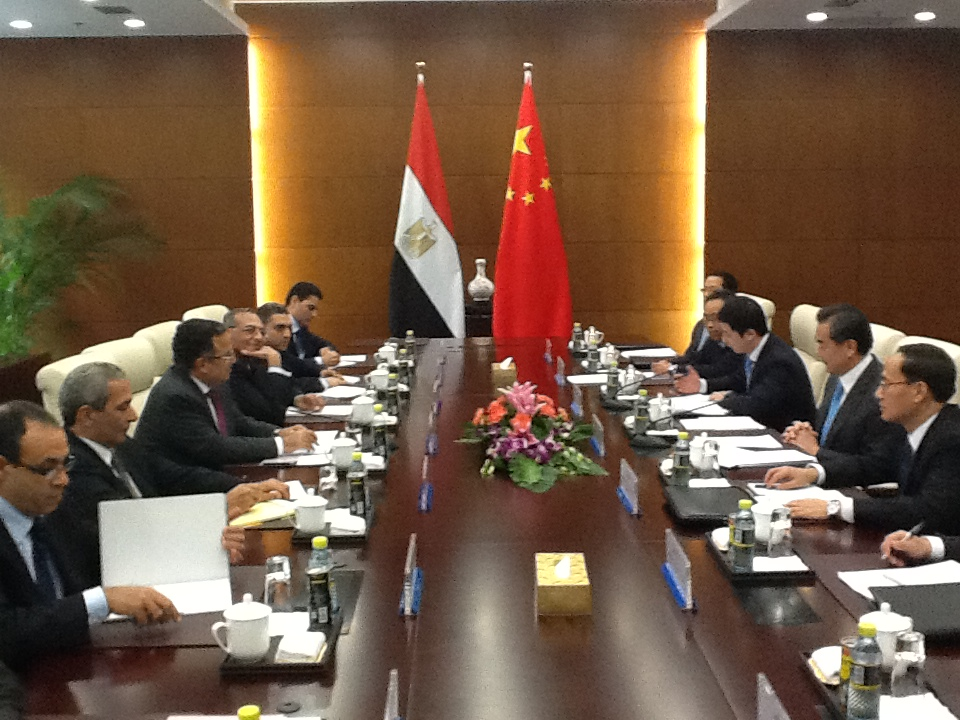 Minister of Foreign Affairs Nabil Fahmy met on Sunday with Egypt's Ambassador to Beijing Magdy Amer  (Photo from Ministry of Foreign Affairs handout)