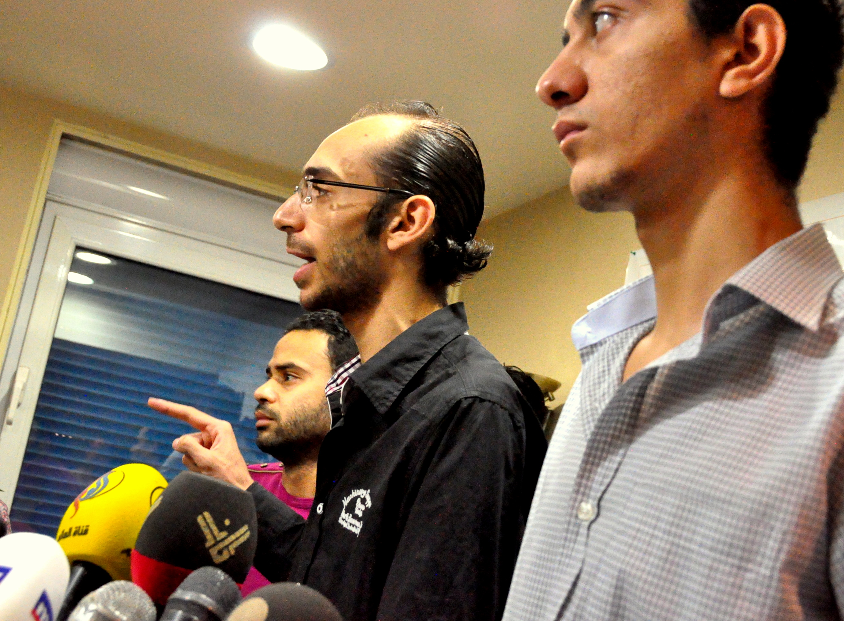 "Tamarod founders Hassan Shahin (right), Mohamed Abdel Aziz (cente) and Mahmoud Badr (left) calling for Friday protests against ""terrorism"" (Photo by Aaron T Rose)"