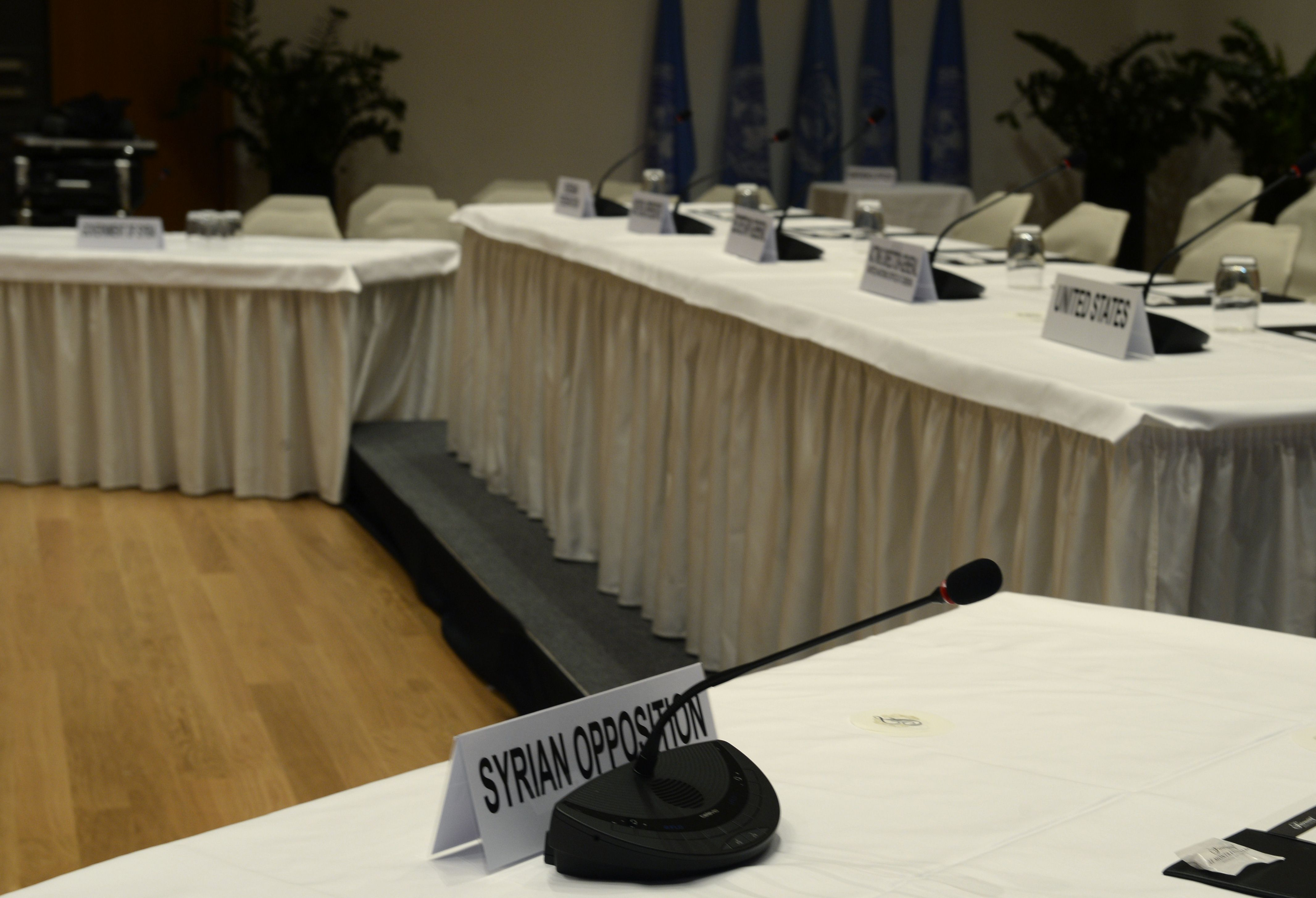 """A picture taken on January 20, 2014 in Montreux shows the place of the Syrian opposition representative in the Syria peace conference room at the conference centre """"Le Petit Palace"""" as part of the Montreux-Palace, the hotel that will host from wednesday the so-called Geneva II peace talks.        (AFP PHOTO/PHILIPPE DESMAZES)"""