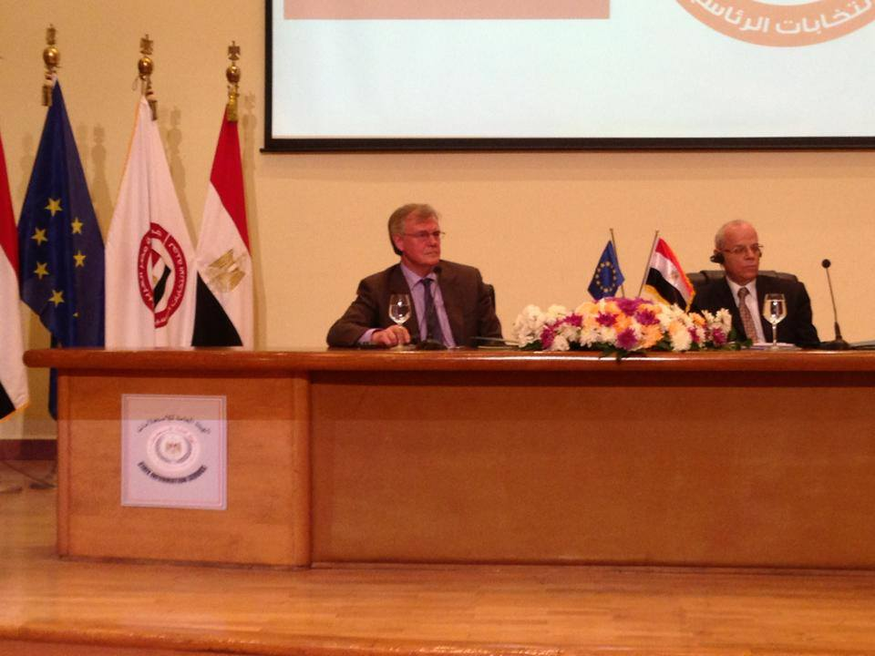 Head of the EU Delegation to Egypt James Moran (L) signed a Memorandum of Understanding with head of the Presidential Elections Commission (PEC) Anwar Al-Rashad Al-Assi on Sunday evening.  Handout from Delegation of European Union in Egypt