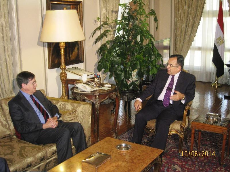 Minister for Foreign Affairs Nabil Fahmy met  Unites States' Ambassador to Libya David Satterfield to discuss Libya's recent political and security developments on Tuesday. (Photo Ministry of Foreign Affairs Handout)