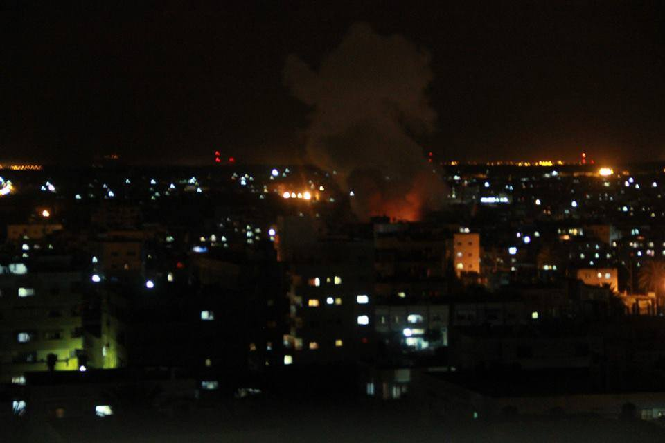 Image of an airstrike in Gaza posted shortly before the Israeli Defense Forces announced a ground operation. (Handout from the Palestinian Ministry of Interior)