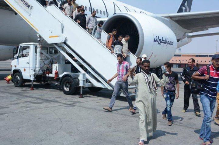 The emergency airlift put in place by the Egyptian government to aid citizens stranded in western Libya ended on Sunday morning, (Handout from the Ministry of Civil Aviation)