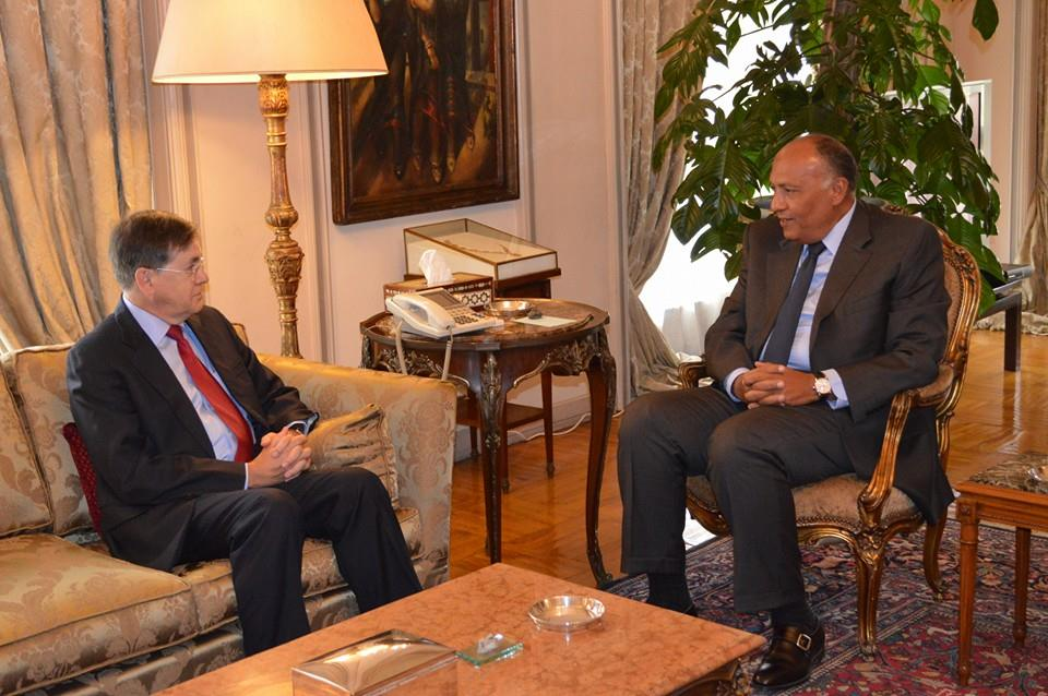 Egyptian Minister of Foreign Affairs Sameh Shoukry (right) met with US envoy David Satterfield on Sunday to discuss regional developments.  (Handout from the Egyptian Ministry of Foreign Affairs)