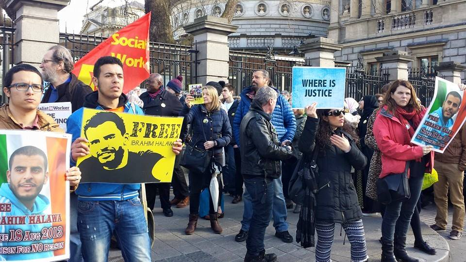 A rally in Dublin, Ireland demanding the release of Ibrahim Halawa ahead of his latest trial session in early June. Photo: Public Domain