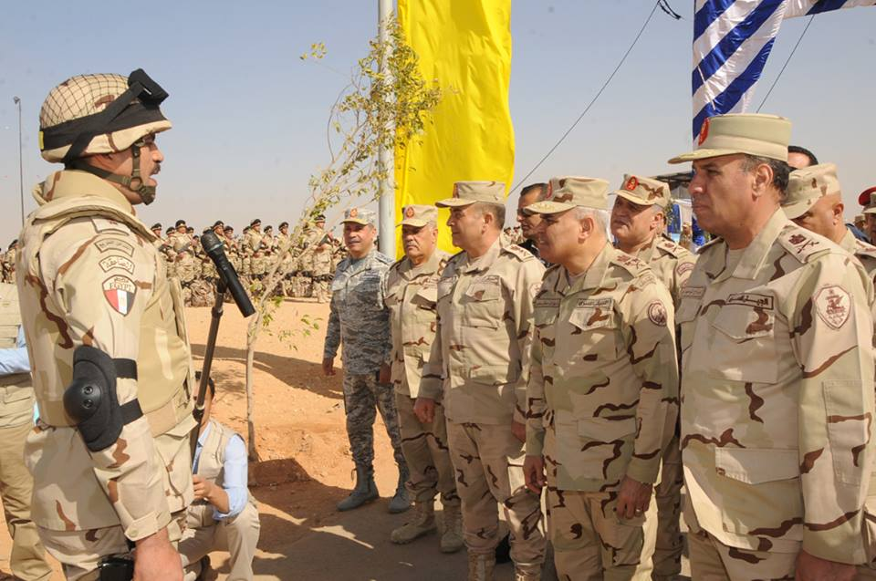Minister of of Defence Sedky Sobhy attends military training. Photo by official Facebook page military spokesperson
