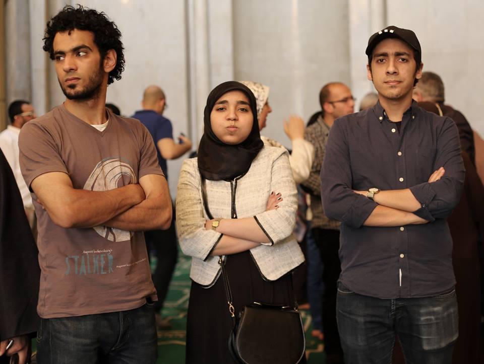 Photograph of Sohaib Saad, Esraa El-Taweel, and Omar Mohamed. (Courtesy of Facebook page: Where is Esraa El-Taweel)