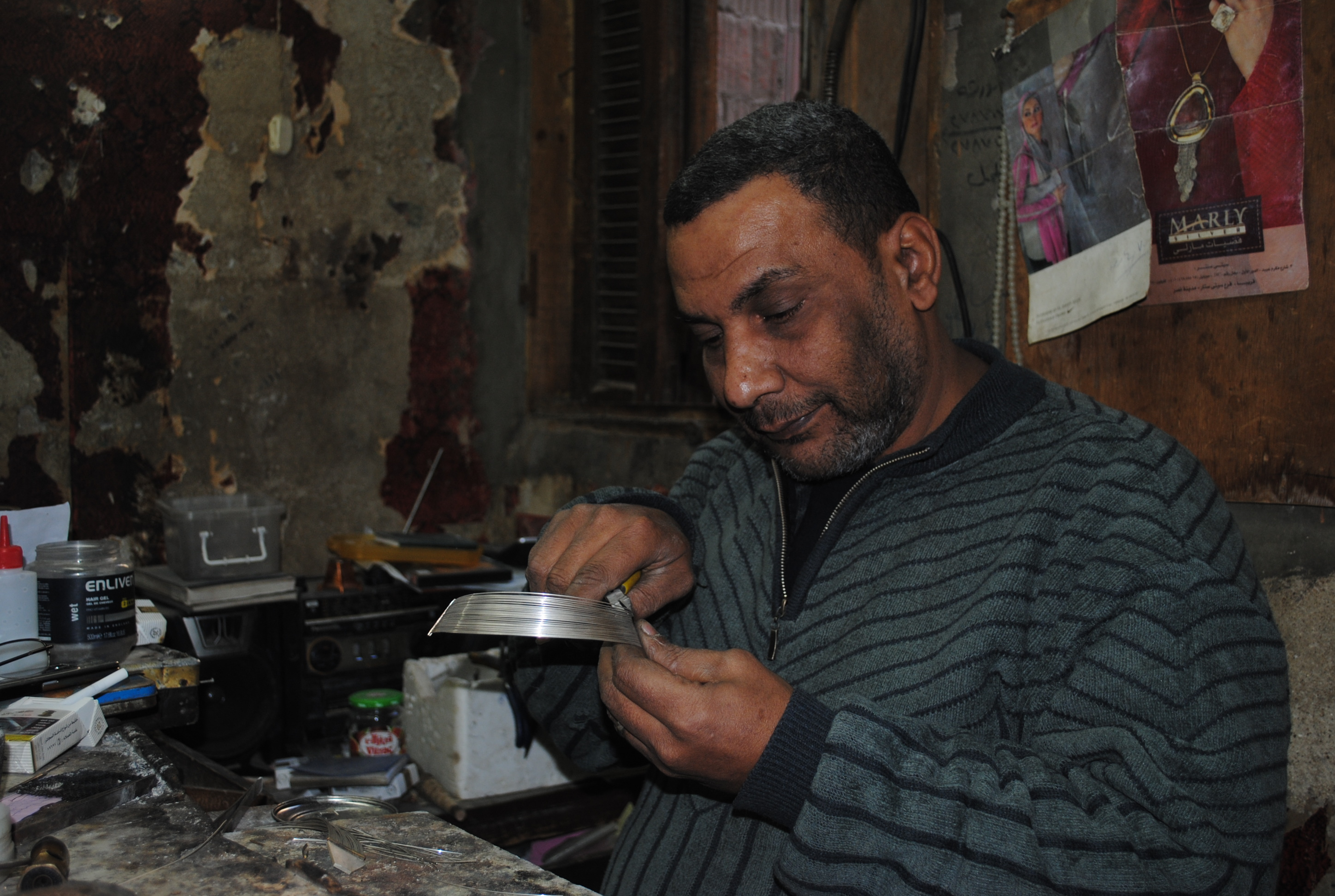 Ghaly Mohamed at work in his workshop (Photo by Abdel-Rahman Sherief)