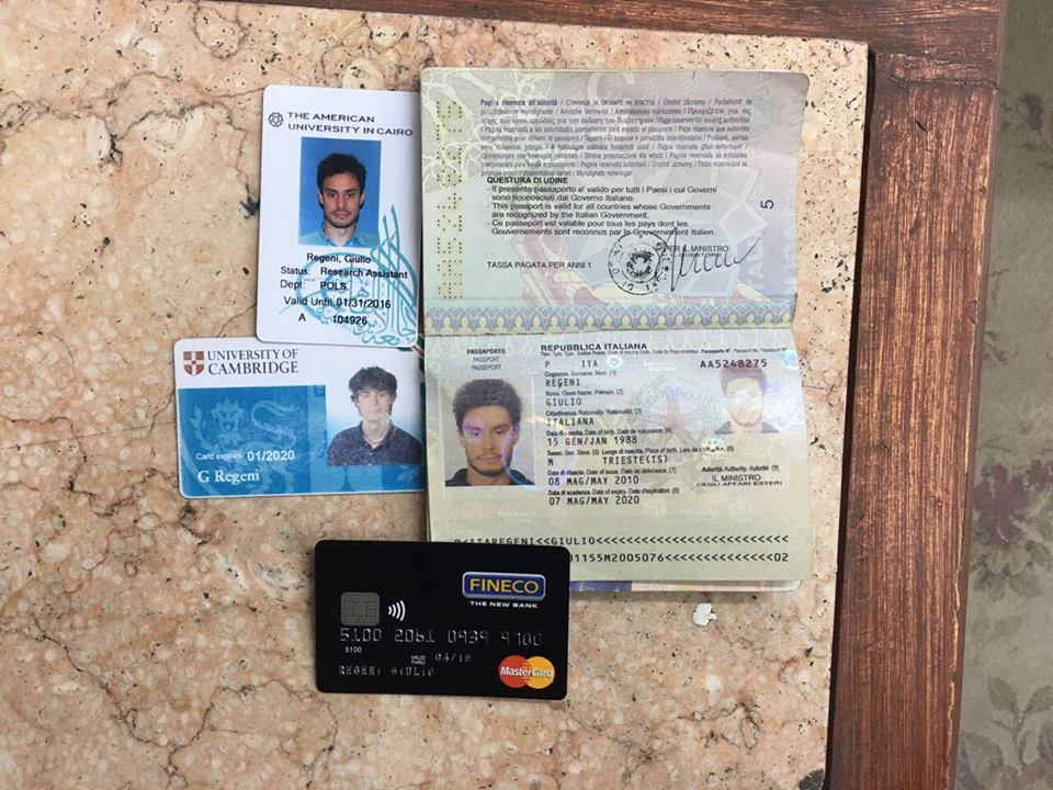 Giulio Regeni's belongings s found by the Interior Ministry.