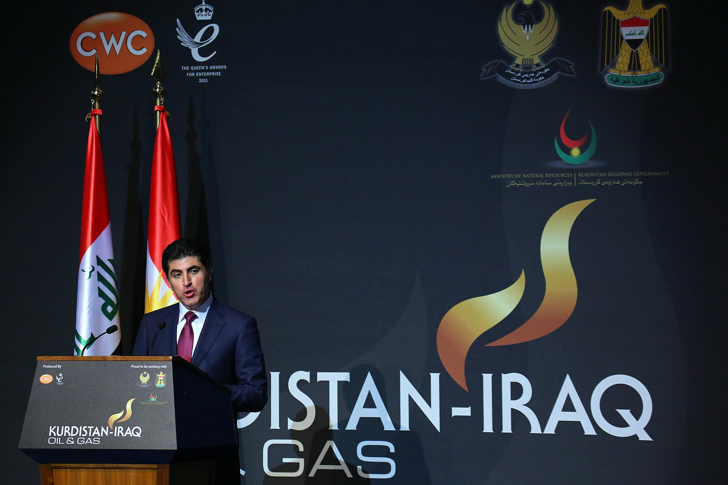 The Prime Minister of Iraq's autonomous Kurdish region, Nechirvan Barzani, addresses an energy conference that Ankara's energy minister was attending in Arbil in northern Iraq, on December 2, 2013.  (AFP PHOTO/SAFIN HAMED)