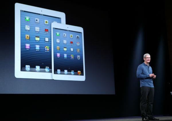 Apple CEO Tim Cook at the launch of the iPad 4th generation and the iPad mini.  (AFP File Photo)