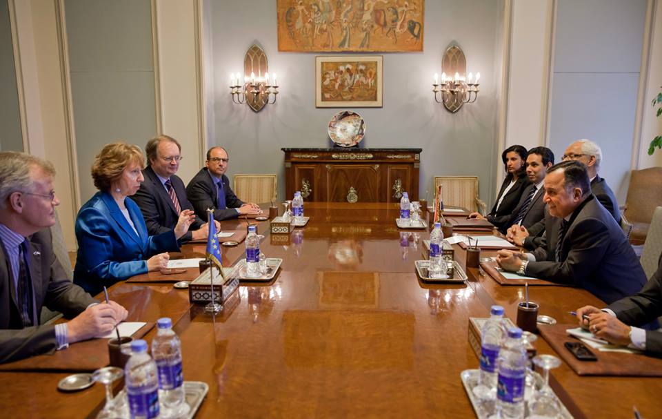 European Union High Representative for Foreign Affairs & Security Policy Catherine Ashton met with Egyptian Foreign Minister Nabil Fahmy on 10 April. Delegation of European Union in Egypt by Photographer Pedro Luis Costa Gomes