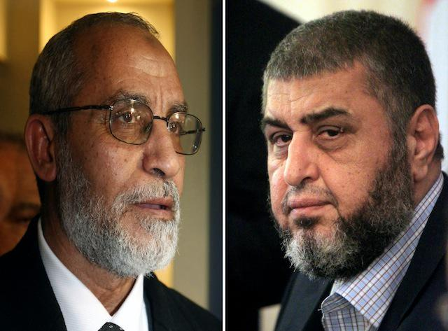 Muslim Brotherhood leaders Khairat el-Shater (R) and Mohammed Badie (KHALED DESOUKI,STR/AFP/Getty Images)