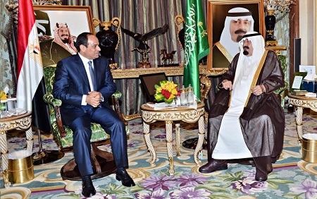 Al-Sisi met with King Abdullah in Jeddah on Sunday. (Handout from the Saudi Arabian Ministry of Foreign Affairs)