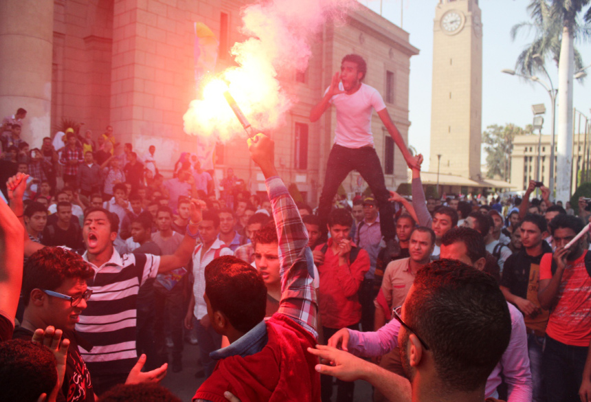 Students demonstrate at Cairo University in October 2013. (Photo by Ahmed Al-Malky)