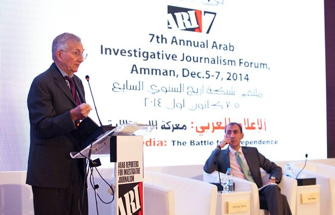 Seymour Hersh, left with Yousri Fouda during a discussion panel at the 7th annual ARIJ conference in Amman (Photo Courtesy of ARIJ )