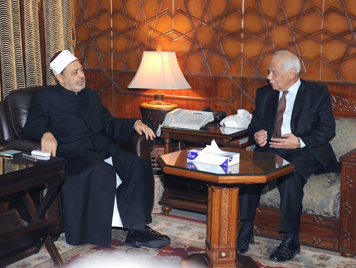 Interim Prime Minister Hazem El-Beblawi (right) visited Al-Azhar Grand Imam Ahmed Al-Tayeb at the Al-Azhar Institute headquarters on Wednesday to check on the educational process at Al-Azhar University (Photo Cabinet handout)