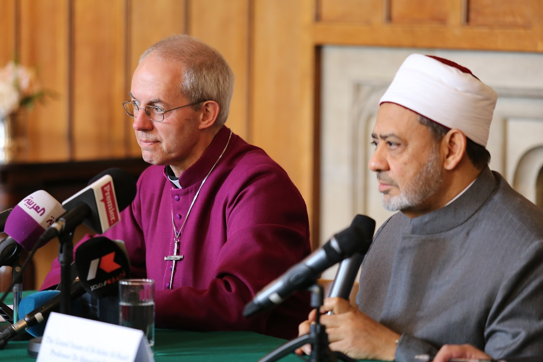 Archbishop Justin Welby speaks with Grand Imam Ahmed Al-Tayeb at Lambeth Palace (Photo from Lambeth Palace)