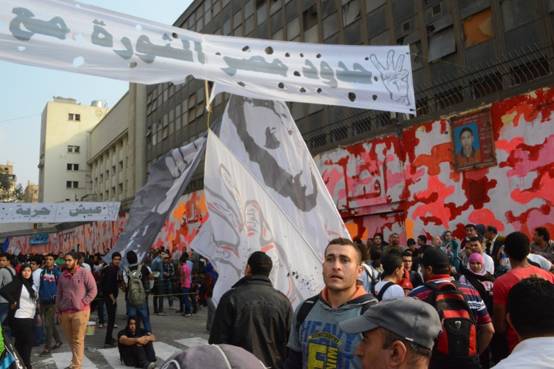 Protesters gather at Mohamed Mahmoud Street in central Cairo on 19 November 2013. The 6 April Democratic Front announced on Monday its intention to demonstrate at the same location. (Photo by Aaron T. Rose)