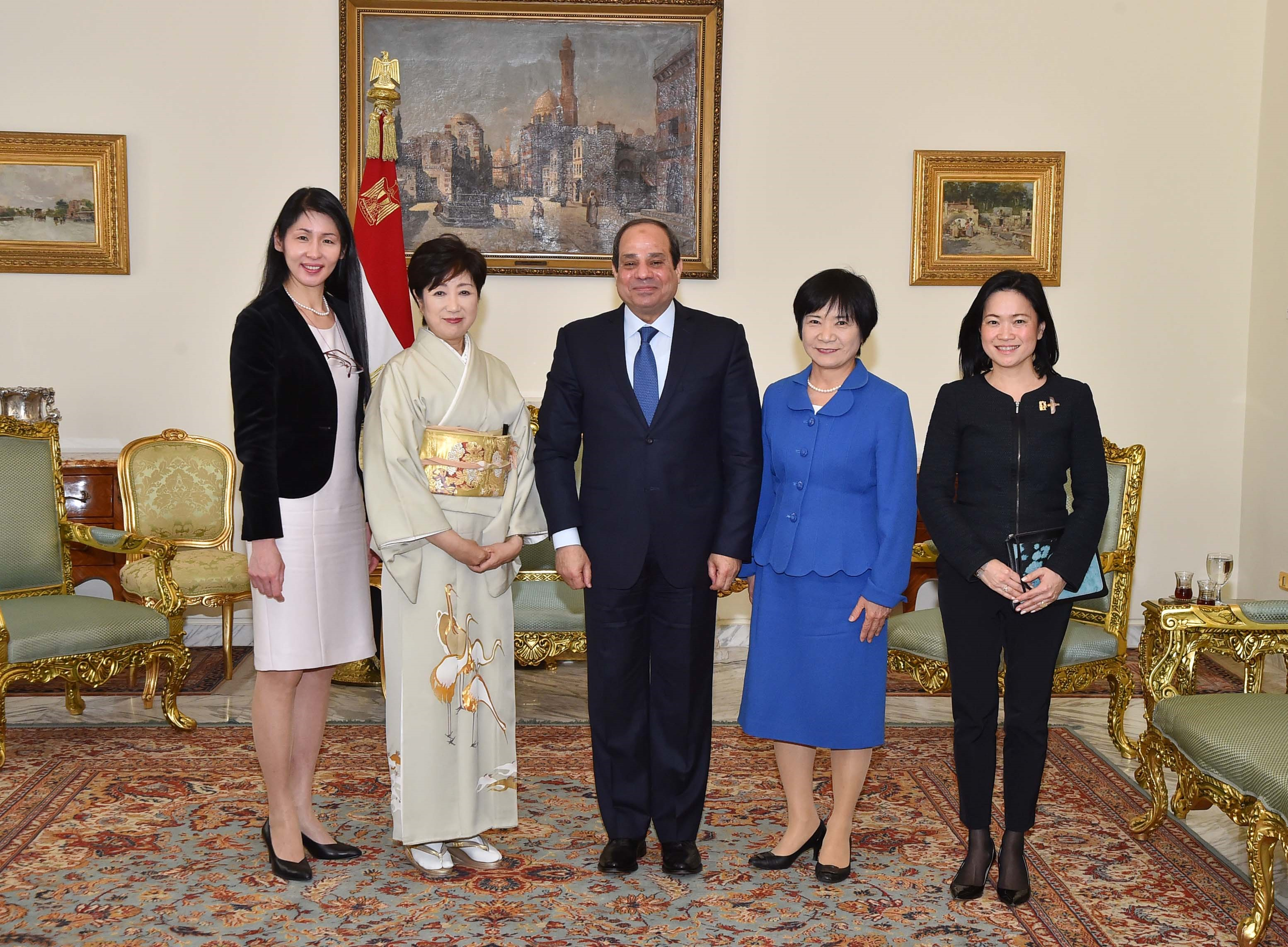 "With President Abdel Fatah Al-Sisi, and Ms. Yuriko Koike, first Female governor of Tokyo after a Forum on Inclusive Growth and Empowerment ""Role of Women and Youth in Transforming Societies: Egypt and Japan, Comparing Notes  (Photo handout from UN Women)"