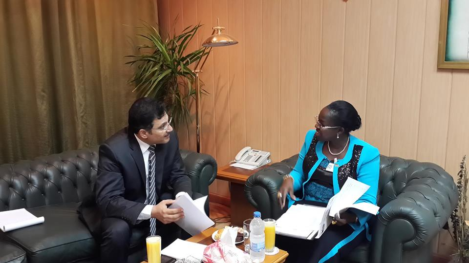Egypt's Water and Irrigation Minister Hossam El-Din Moghazy and South Sudan's Water and Electricity Minister Jemma Nunu Kumba hold talks in preparation of a water agreement signing between the two countries  (Photo Egyptian Water and Irrigation Ministry handout)