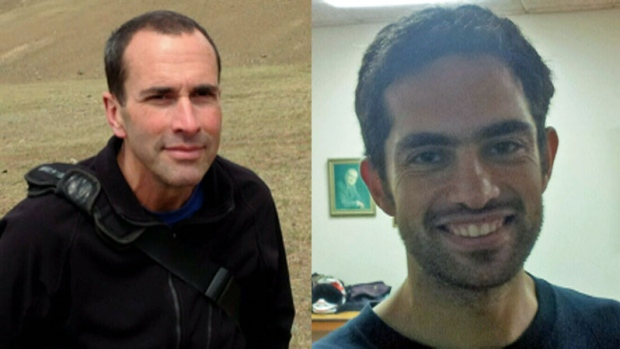 Canadian nationals John Greyson (left) and Tarek Loubani were prevented from leaving Egypt despite their release from jail (Handouts from John Greyson's and Tarek Loubani's families)